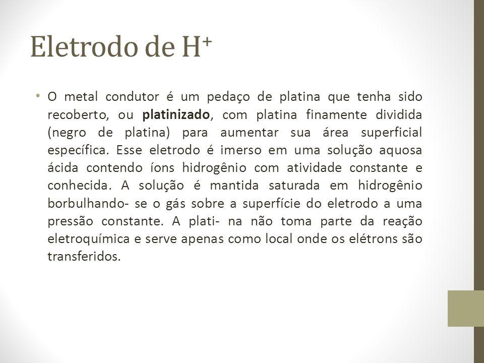 Eletrodo de H + O metal condutor é um pedaço de platina que tenha sido recoberto, ou platinizado, com platina finamente dividida (negro de platina) para aumentar sua área superficial específica.
