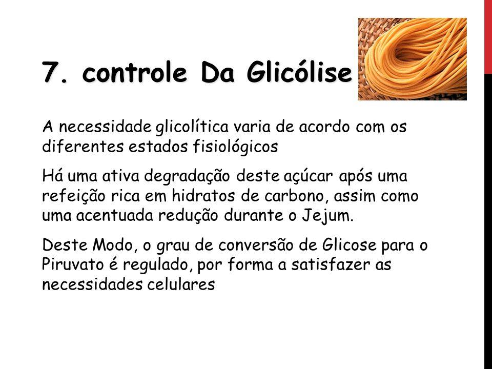 7. controle Da Glicólise A necessidade glicolítica varia de acordo com os diferentes estados fisiológicos Há uma ativa degradação deste açúcar após um