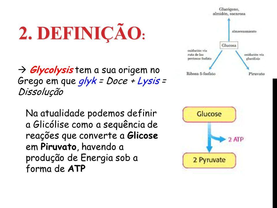 2. DEFINIÇÃO : Glycolysis glykLysis Glycolysis tem a sua origem no Grego em que glyk = Doce + Lysis = Dissolução sequência de reações que converte a G
