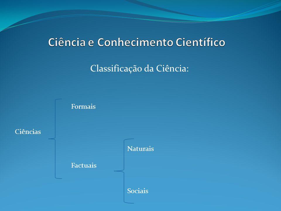 Classificação da Ciência: Formais Ciências Naturais Factuais Sociais