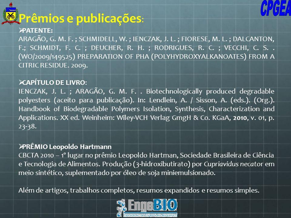 Prêmios e publicações : PATENTE: ARAGÃO, G. M. F. ; SCHMIDELL, W. ; IENCZAK, J. L. ; FIORESE, M. L. ; DALCANTON, F.; SCHMIDT, F. C. ; DEUCHER, R. H. ;