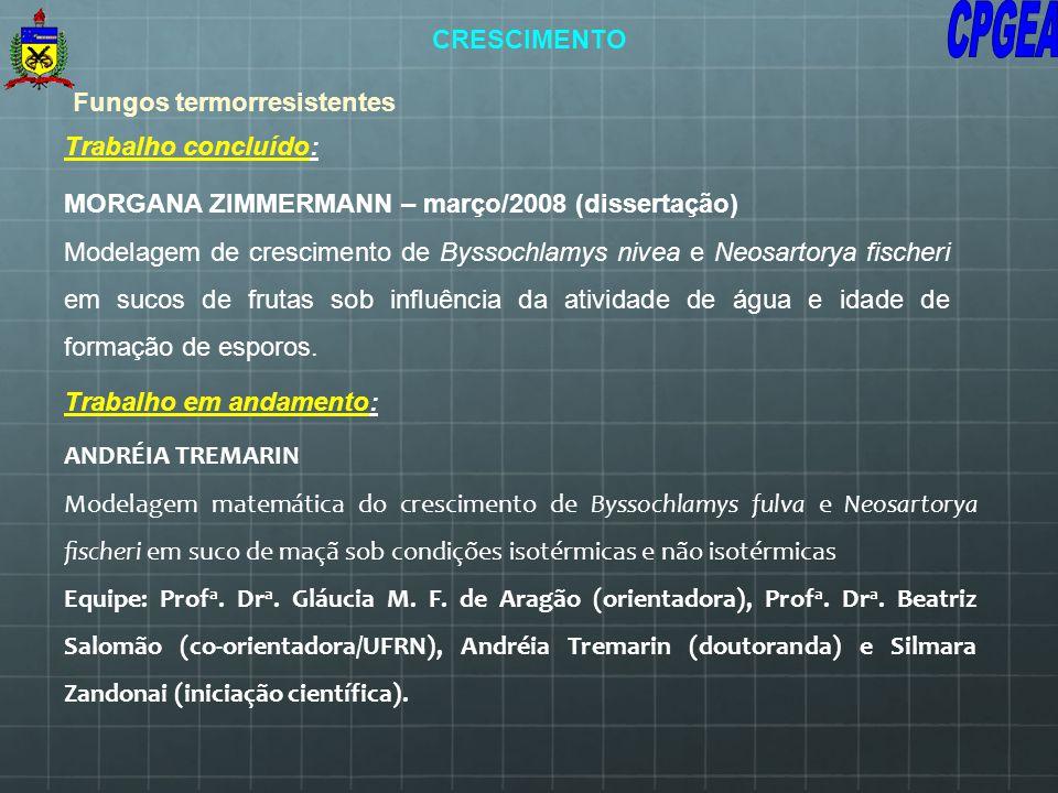 Trabalho em andamento: Fungos termorresistentes ANDRÉIA TREMARIN Modelagem matemática do crescimento de Byssochlamys fulva e Neosartorya scheri em suc