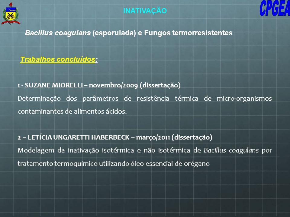 Bacillus coagulans (esporulada) e Fungos termorresistentes 1 - SUZANE MIORELLI – novembro/2009 (dissertação) Determinação dos parâmetros de resistênci