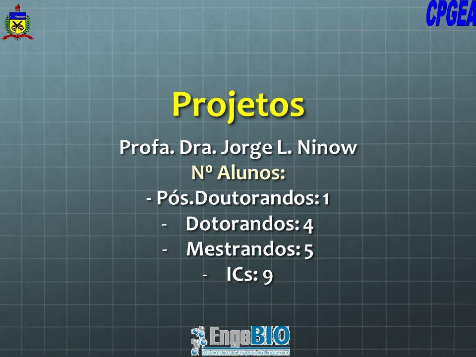 Projetos Profa. Dra. Jorge L. Ninow N 0 Alunos: - Pós.Doutorandos: 1 -Dotorandos: 4 -Mestrandos: 5 -ICs: 9