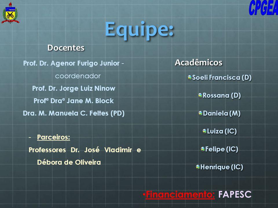 Equipe: Docentes Soeli Francisca (D) Rossana (D) Daniela (M) Luiza (IC) Felipe (IC) Henrique (IC) Acadêmicos Financiamento: FAPESC Prof. Dr. Agenor Fu