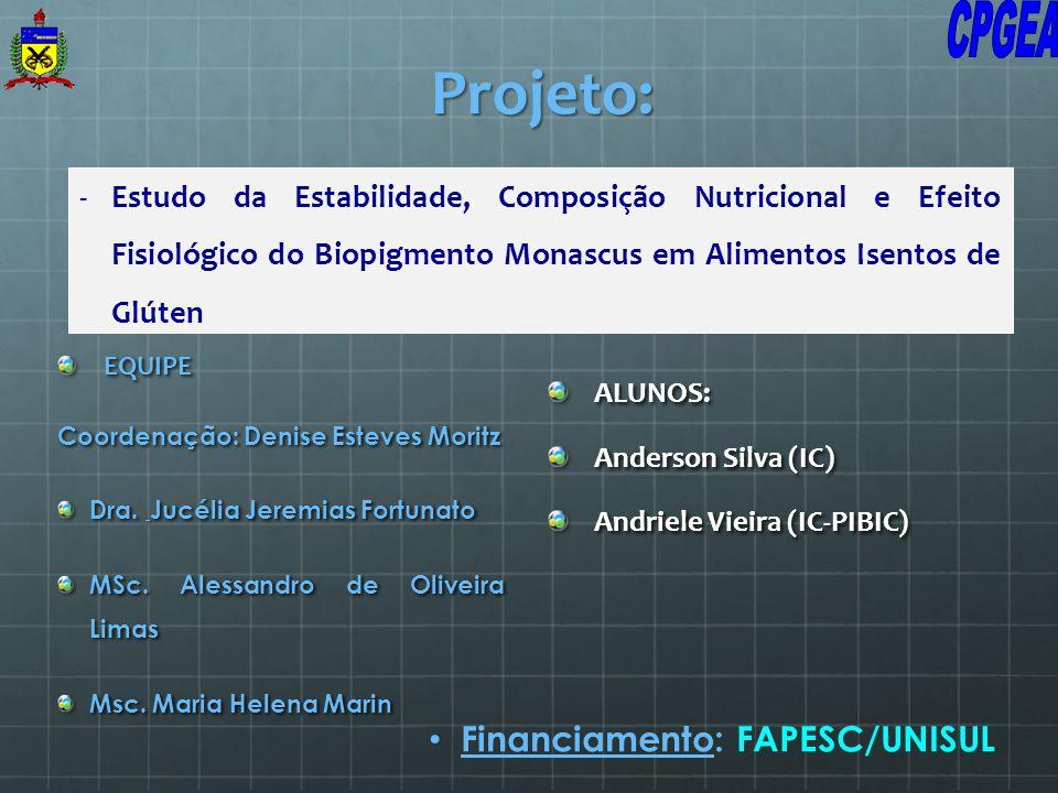 -Estudo da Estabilidade, Composição Nutricional e Efeito Fisiológico do Biopigmento Monascus em Alimentos Isentos de Glúten Projeto: EQUIPE Coordenaçã