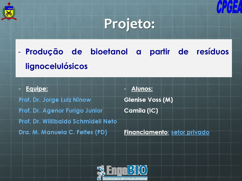 - Produção de bioetanol a partir de resíduos lignocelulósicos - Equipe: Prof. Dr. Jorge Luiz Ninow Prof. Dr. Agenor Furigo Junior Prof. Dr. Willibaldo