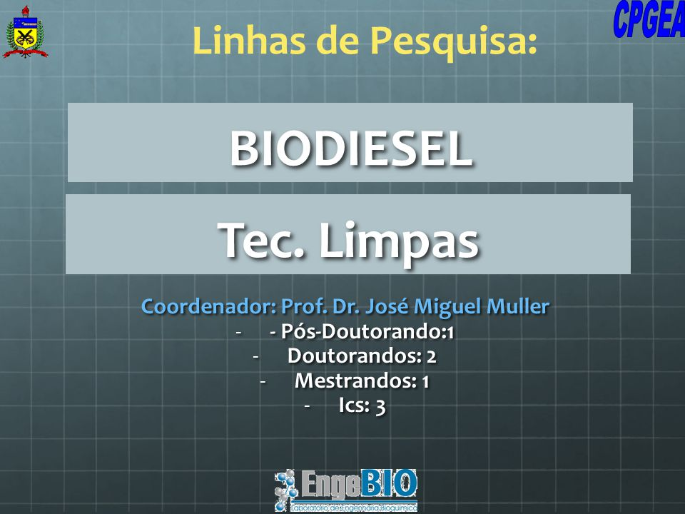BIODIESEL Coordenador: Prof. Dr. José Miguel Muller -- Pós-Doutorando:1 -Doutorandos: 2 -Mestrandos: 1 -Ics: 3 Linhas de Pesquisa: Tec. Limpas