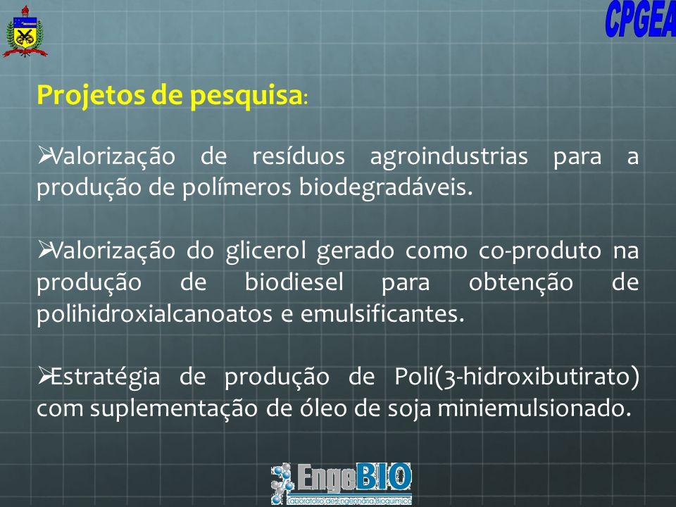 Projetos de pesquisa : Valorização de resíduos agroindustrias para a produção de polímeros biodegradáveis. Valorização do glicerol gerado como co-prod