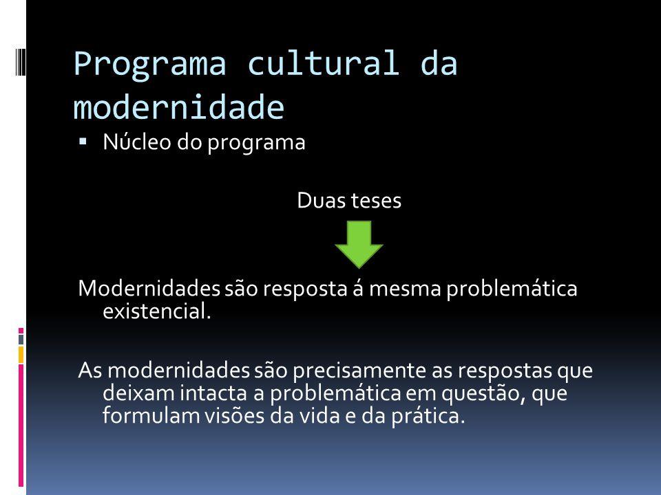 Programa cultural da modernidade Núcleo do programa Duas teses Modernidades são resposta á mesma problemática existencial. As modernidades são precisa