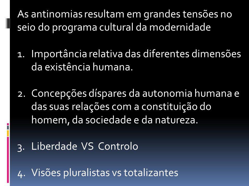 As antinomias resultam em grandes tensões no seio do programa cultural da modernidade 1.Importância relativa das diferentes dimensões da existência hu