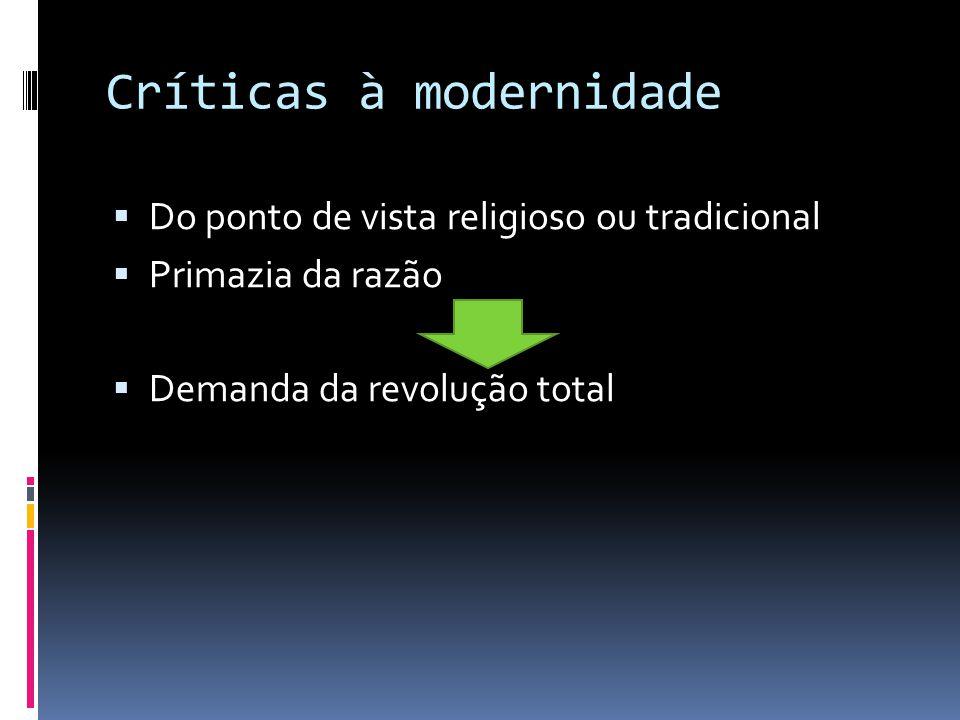 Críticas à modernidade Do ponto de vista religioso ou tradicional Primazia da razão Demanda da revolução total