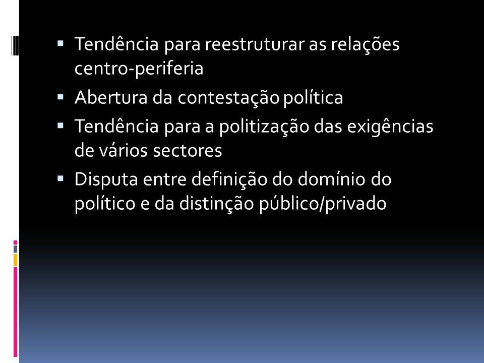 Tendência para reestruturar as relações centro-periferia Abertura da contestação política Tendência para a politização das exigências de vários sector