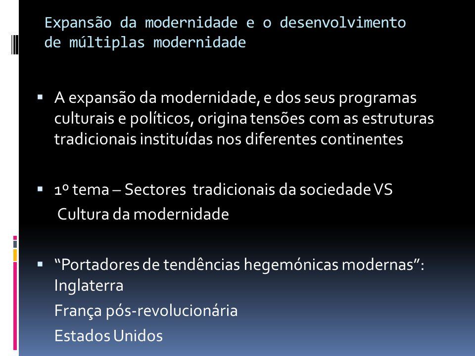 Expansão da modernidade e o desenvolvimento de múltiplas modernidade A expansão da modernidade, e dos seus programas culturais e políticos, origina te