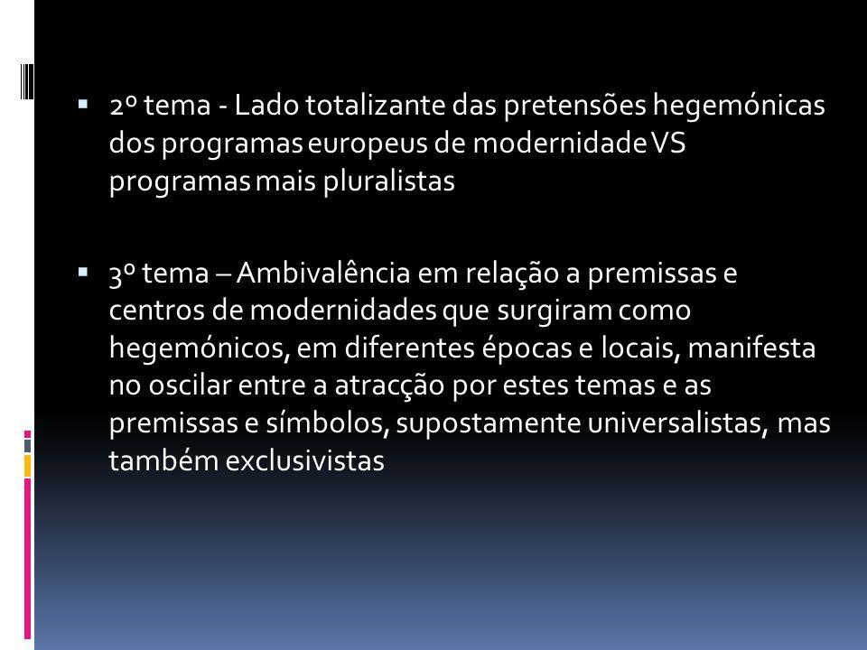 2º tema - Lado totalizante das pretensões hegemónicas dos programas europeus de modernidade VS programas mais pluralistas 3º tema – Ambivalência em re