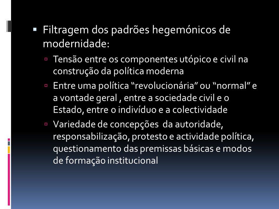Filtragem dos padrões hegemónicos de modernidade: Tensão entre os componentes utópico e civil na construção da política moderna Entre uma política rev