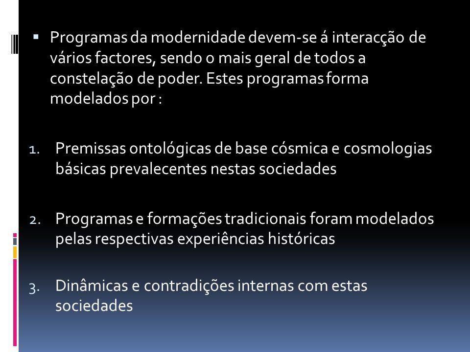 Programas da modernidade devem-se á interacção de vários factores, sendo o mais geral de todos a constelação de poder. Estes programas forma modelados