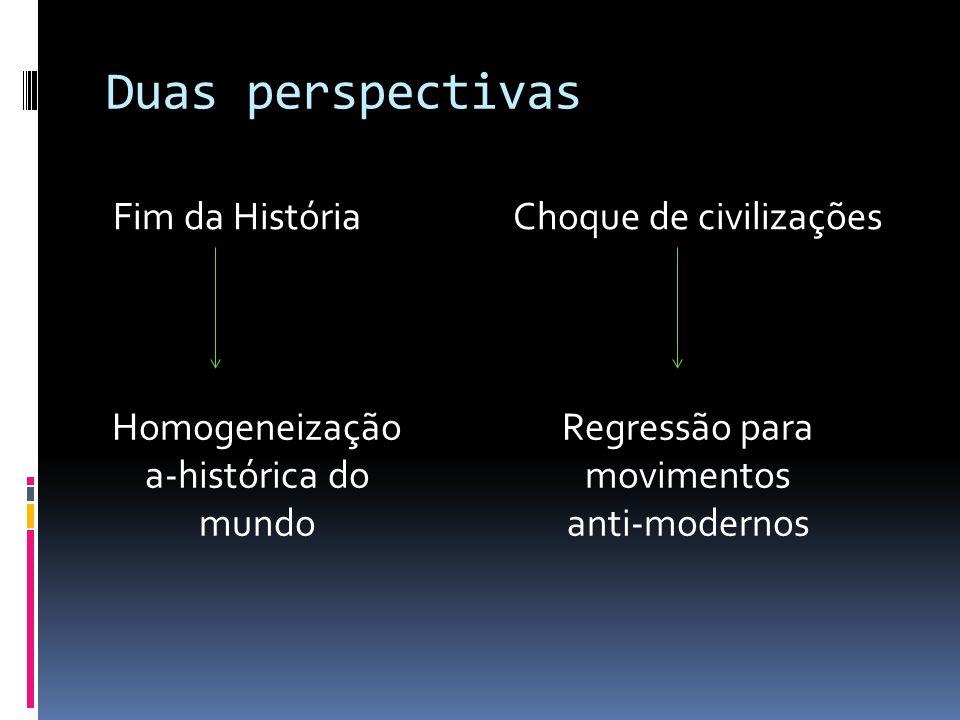Duas perspectivas Fim da História Choque de civilizações Regressão para movimentos anti-modernos Homogeneização a-histórica do mundo