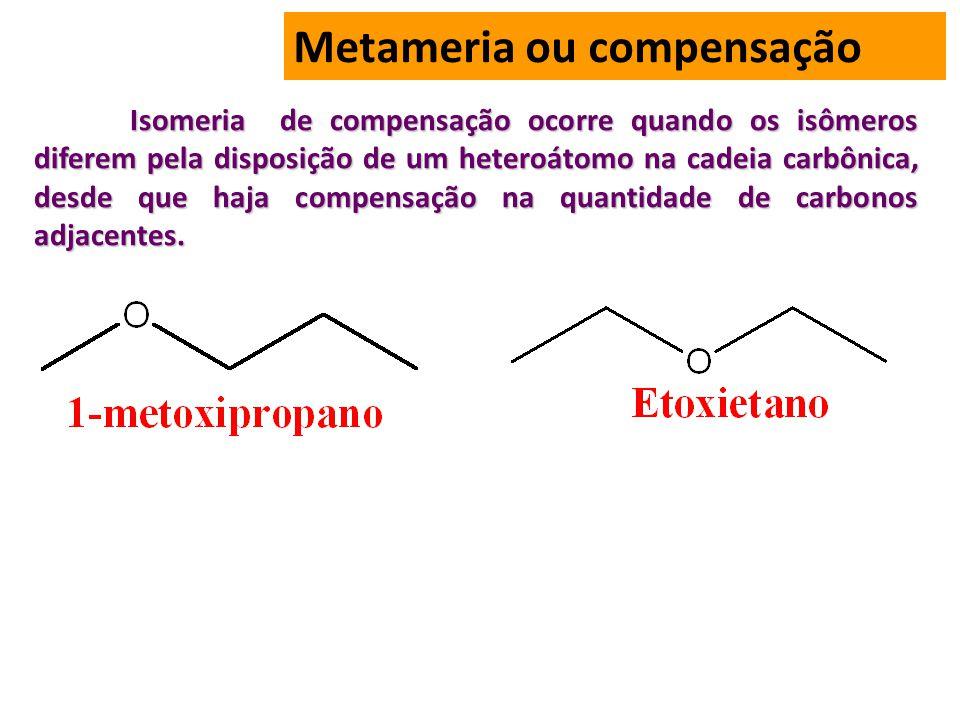 Metameria ou compensação Isomeria de compensação ocorre quando os isômeros diferem pela disposição de um heteroátomo na cadeia carbônica, desde que haja compensação na quantidade de carbonos adjacentes.