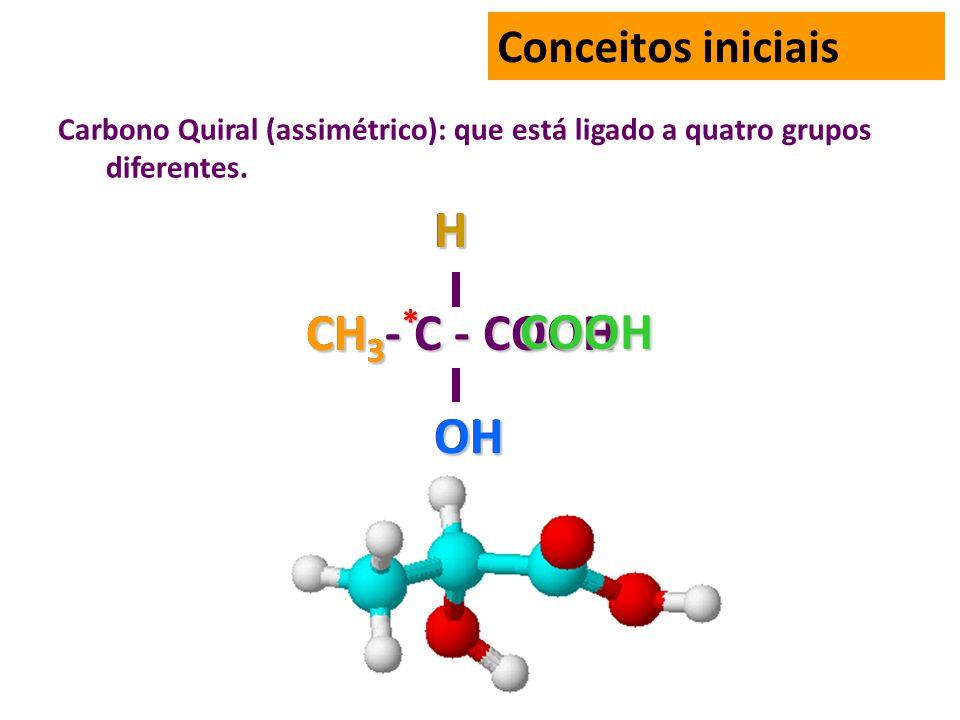 Carbono Quiral (assimétrico): que está ligado a quatro grupos diferentes.