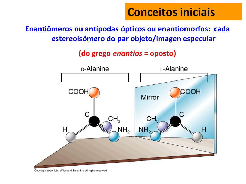 Conceitos iniciais Enantiômeros ou antípodas ópticos ou enantiomorfos: cada estereoisômero do par objeto/imagen especular (do grego enantios = oposto)