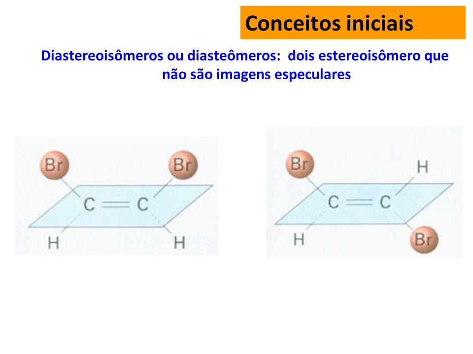 Diastereoisômeros ou diasteômeros: dois estereoisômero que não são imagens especulares