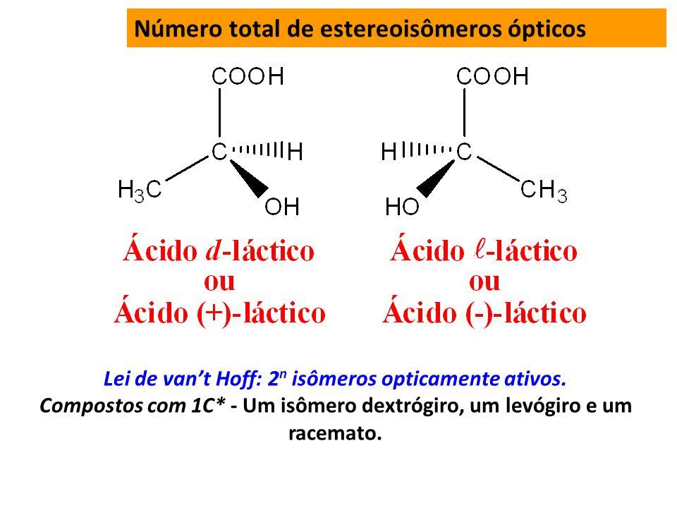 Número total de estereoisômeros ópticos Lei de vant Hoff: 2 n isômeros opticamente ativos.