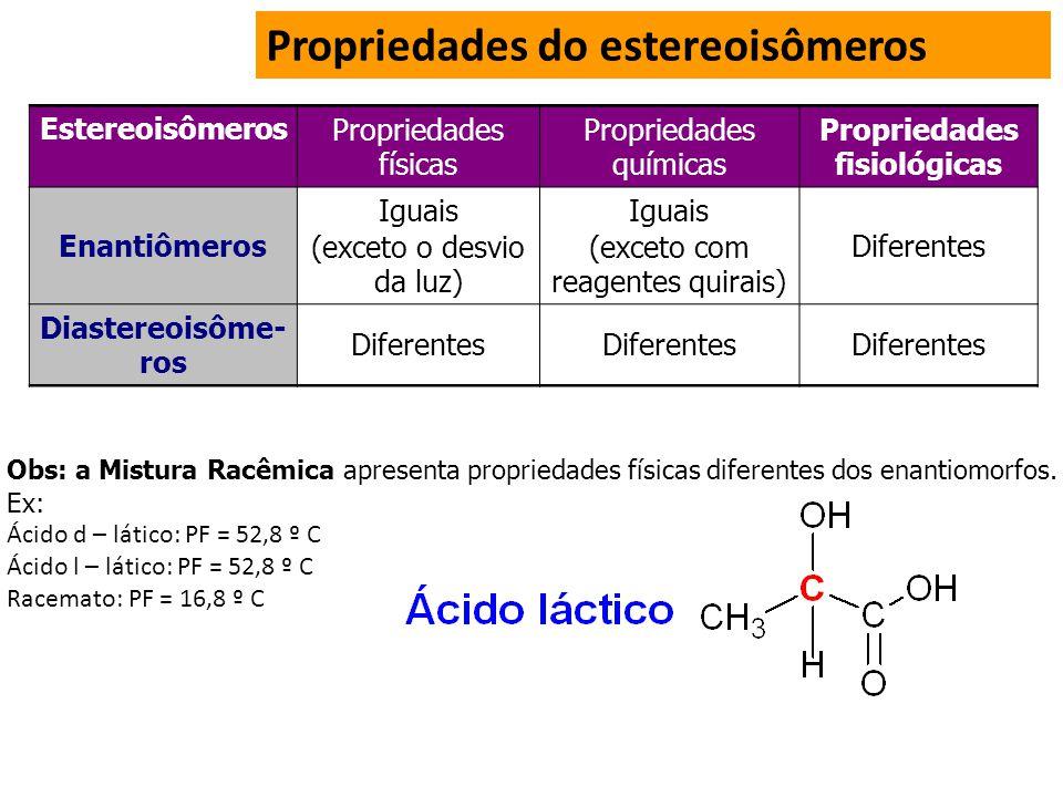 Propriedades do estereoisômeros EstereoisômerosPropriedades físicas Propriedades químicas Propriedades fisiológicas Enantiômeros Iguais (exceto o desvio da luz) Iguais (exceto com reagentes quirais) Diferentes Diastereoisôme- ros Diferentes Obs: a Mistura Racêmica apresenta propriedades físicas diferentes dos enantiomorfos.