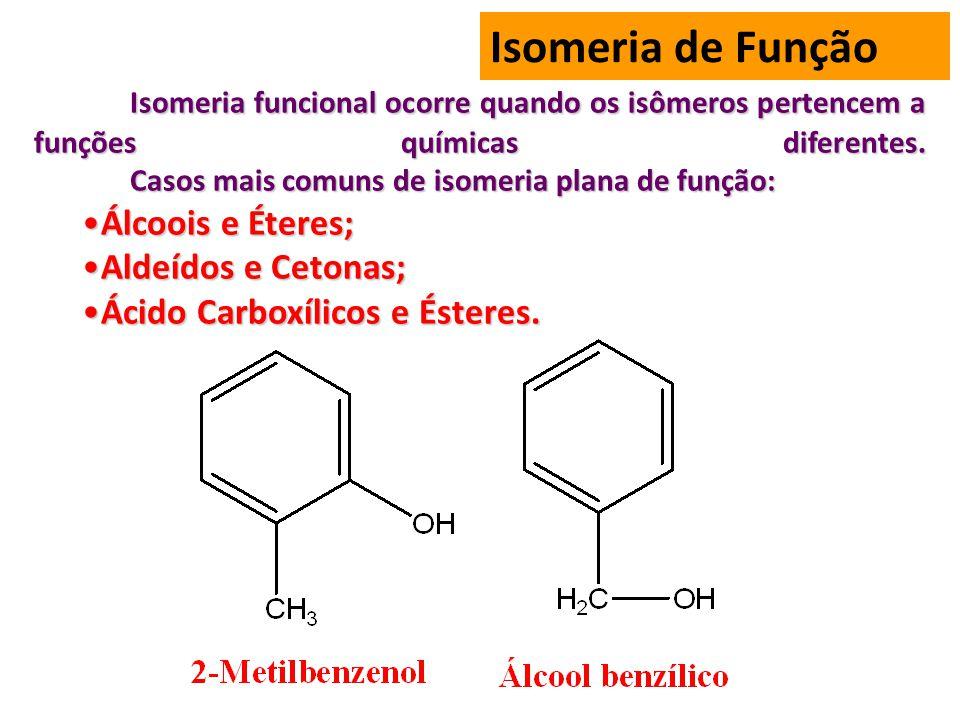 Isomeria de Função Isomeria funcional ocorre quando os isômeros pertencem a funções químicas diferentes.