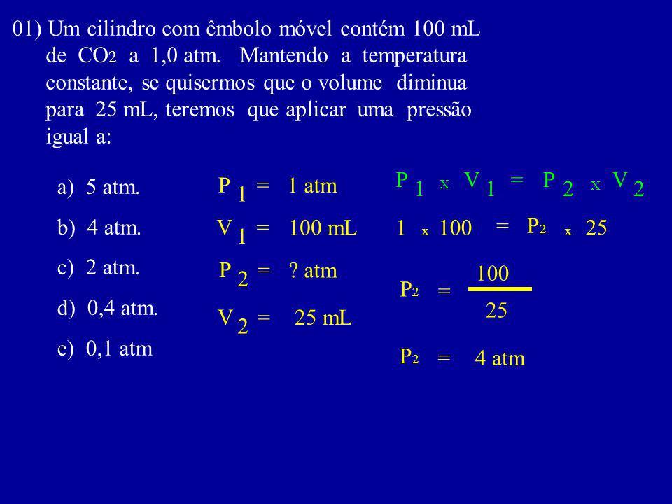 01) Um cilindro com êmbolo móvel contém 100 mL de CO 2 a 1,0 atm.