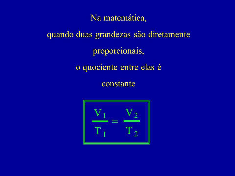 Na matemática, quando duas grandezas são diretamente proporcionais, o quociente entre elas é constante V T = 1 1 V T 2 2