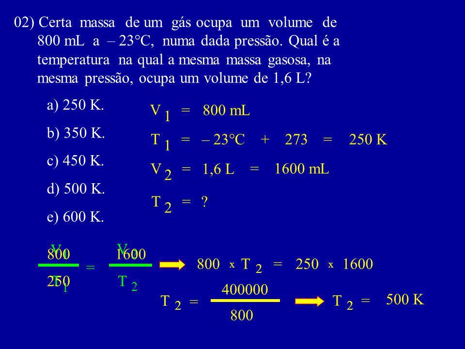 02) Certa massa de um gás ocupa um volume de 800 mL a – 23°C, numa dada pressão.