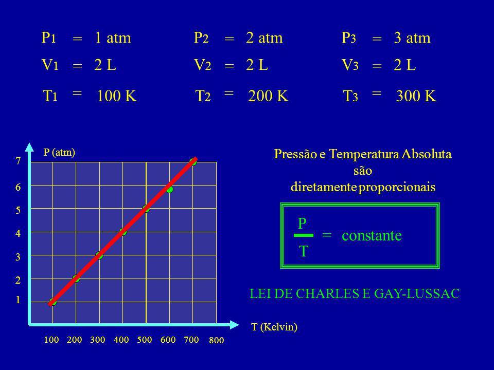 P1P1 V1V1 T1T1 = = = 1 atm 2 L 100 K P2P2 V2V2 T2T2 = = = 2 atm 2 L 200 K P3P3 V3V3 T3T3 = = = 3 atm 2 L 300 K 100200300400 800 500700600 1 2 3 4 T (Kelvin) 5 7 6 P (atm) Pressão e Temperatura Absoluta são diretamente proporcionais LEI DE CHARLES E GAY-LUSSAC P T =constante