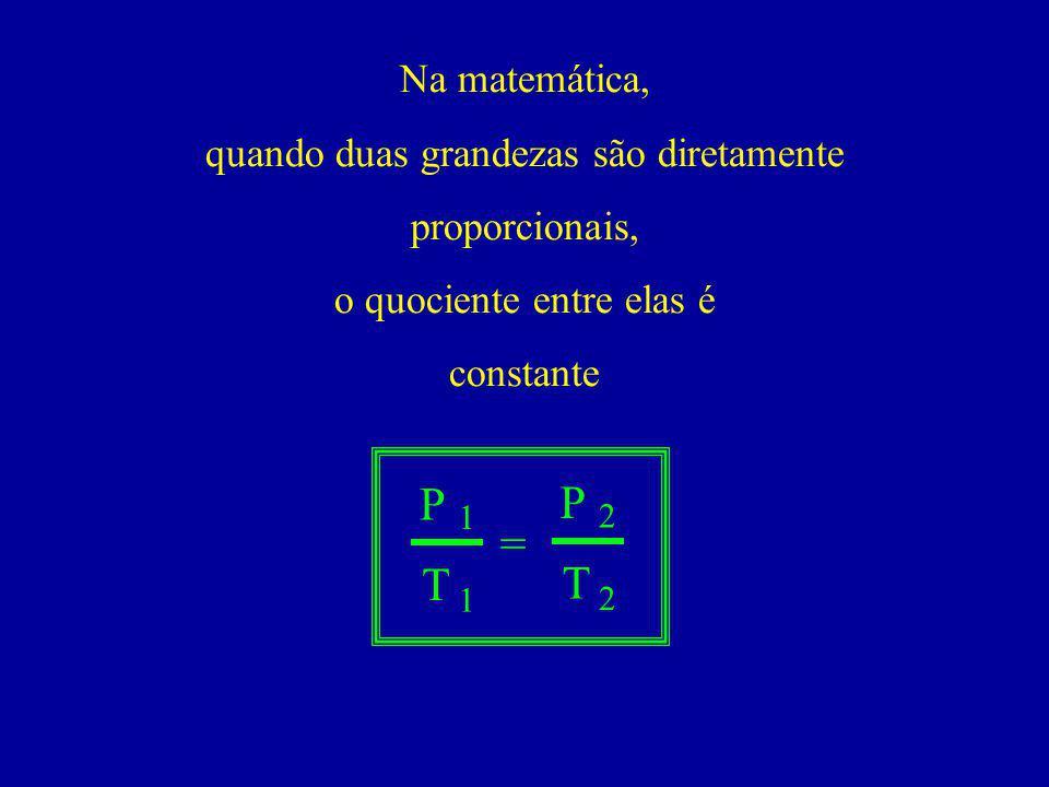 Na matemática, quando duas grandezas são diretamente proporcionais, o quociente entre elas é constante P T = 1 1 P T 2 2