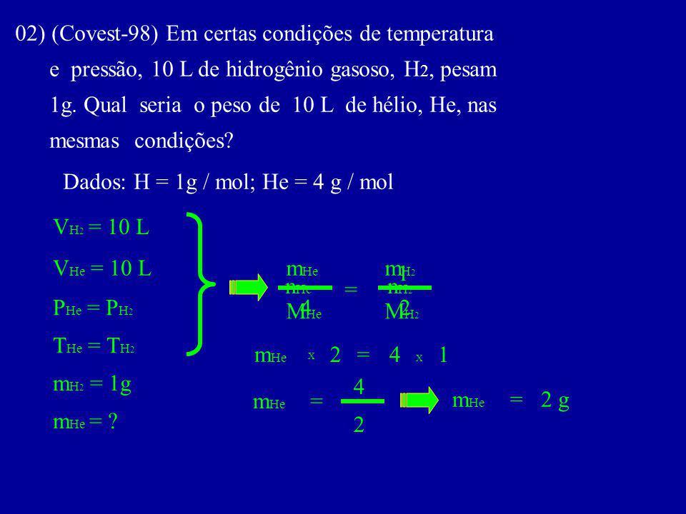 02) (Covest-98) Em certas condições de temperatura e pressão, 10 L de hidrogênio gasoso, H 2, pesam 1g.