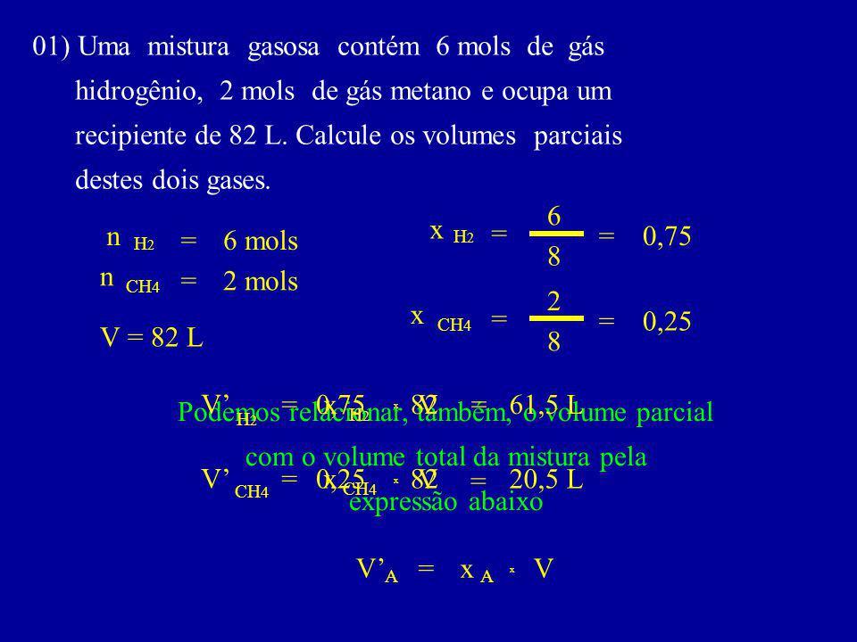 01) Uma mistura gasosa contém 6 mols de gás hidrogênio, 2 mols de gás metano e ocupa um recipiente de 82 L.