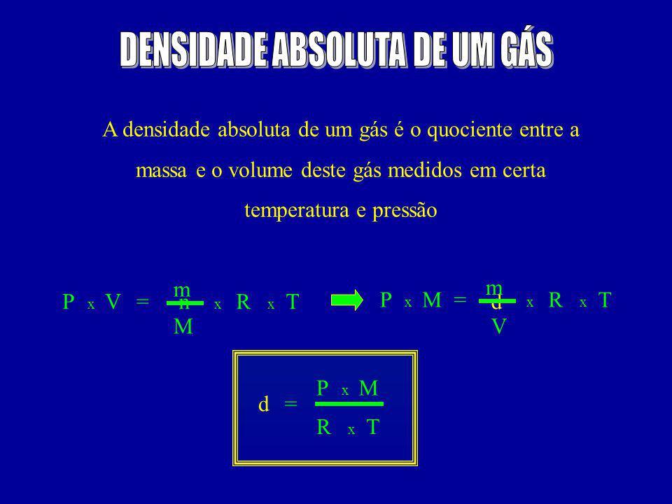 A densidade absoluta de um gás é o quociente entre a massa e o volume deste gás medidos em certa temperatura e pressão =n x PTV xx R M m = d x PT V xx RM m =d x P T x R M