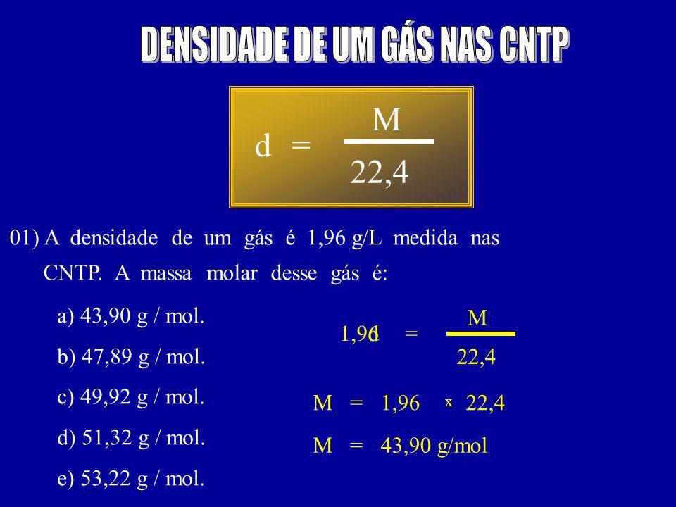 d= 22,4 M 01) A densidade de um gás é 1,96 g/L medida nas CNTP.