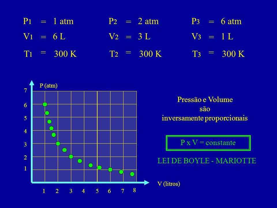 P1P1 V1V1 T1T1 = = = 1 atm 6 L 300 K P2P2 V2V2 T2T2 = = = 2 atm 3 L 300 K P3P3 V3V3 T3T3 = = = 6 atm 1 L 300 K 1234 8 576 1 2 3 4 V (litros) 5 7 6 P (atm) Pressão e Volume são inversamente proporcionais P x V = constante LEI DE BOYLE - MARIOTTE