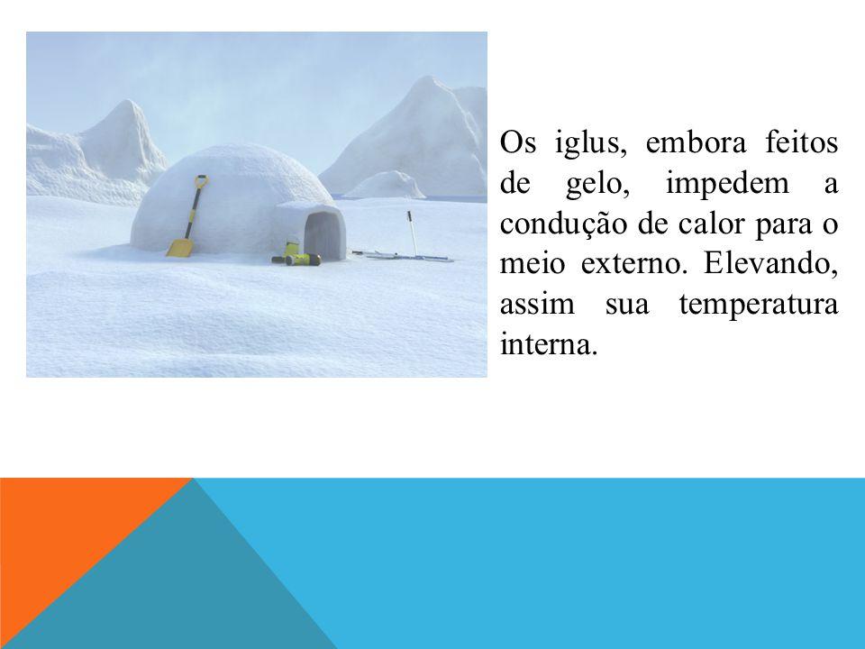 Os iglus, embora feitos de gelo, impedem a condução de calor para o meio externo. Elevando, assim sua temperatura interna.