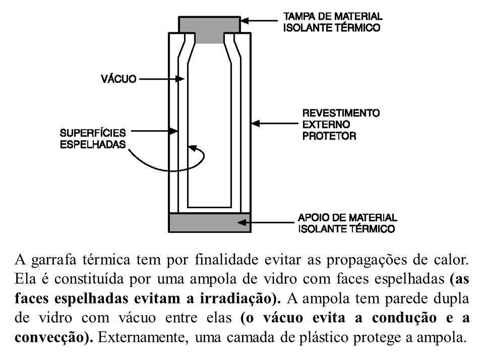 A garrafa térmica tem por finalidade evitar as propagações de calor. Ela é constituída por uma ampola de vidro com faces espelhadas (as faces espelhad