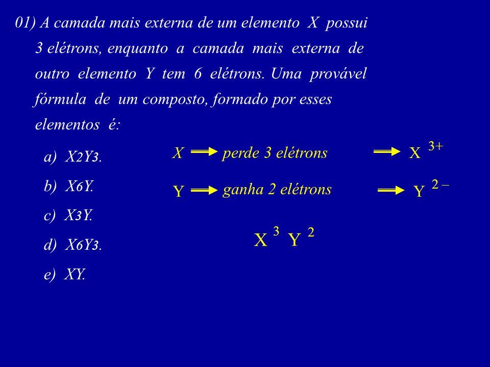 01) A camada mais externa de um elemento X possui 3 elétrons, enquanto a camada mais externa de outro elemento Y tem 6 elétrons. Uma provável fórmula