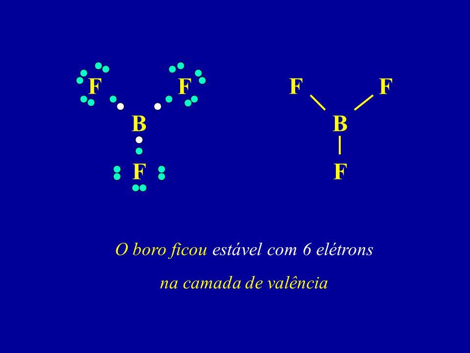B F F F O boro ficou estável com 6 elétrons na camada de valência B F F F
