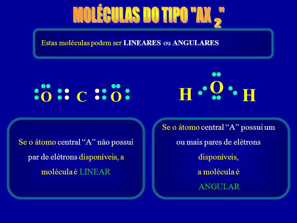 OCO O H H Estas moléculas podem ser LINEARES ou ANGULARES Se o átomo central A não possui par de elétrons disponíveis, a molécula é LINEAR Se o átomo