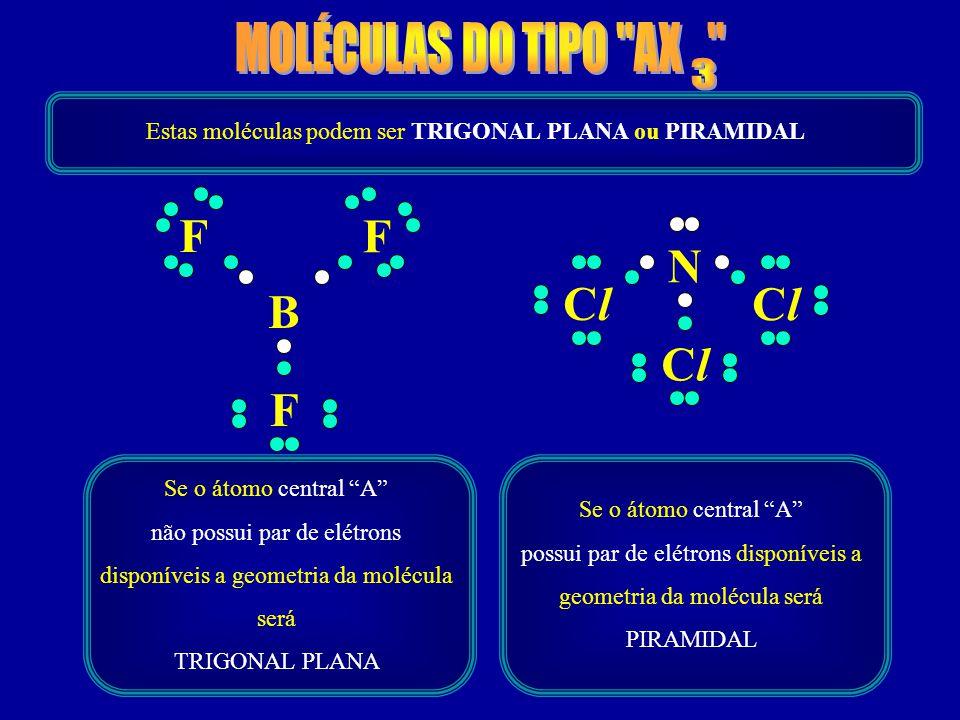 B F F F N ClCl ClCl ClCl Estas moléculas podem ser TRIGONAL PLANA ou PIRAMIDAL Se o átomo central A não possui par de elétrons disponíveis a geometria