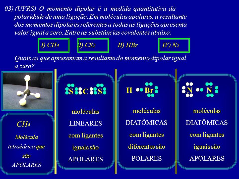 03) (UFRS) O momento dipolar é a medida quantitativa da polaridade de uma ligação. Em moléculas apolares, a resultante dos momentos dipolares referent