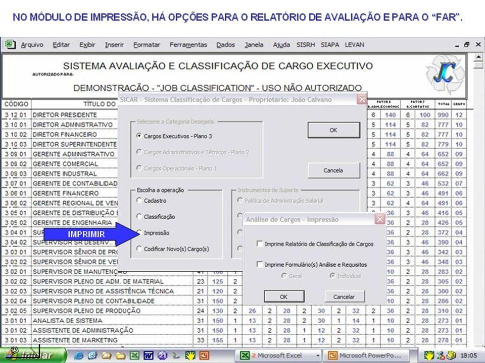 IMEDIATAMENTE, TEMOS A CONCLUSÃO DAS AVALIAÇÕES E CLASSIFICAÇÃO DE CARGOS, COM O CÓDIGO ESTRUTURADO DE CADA CARGO.