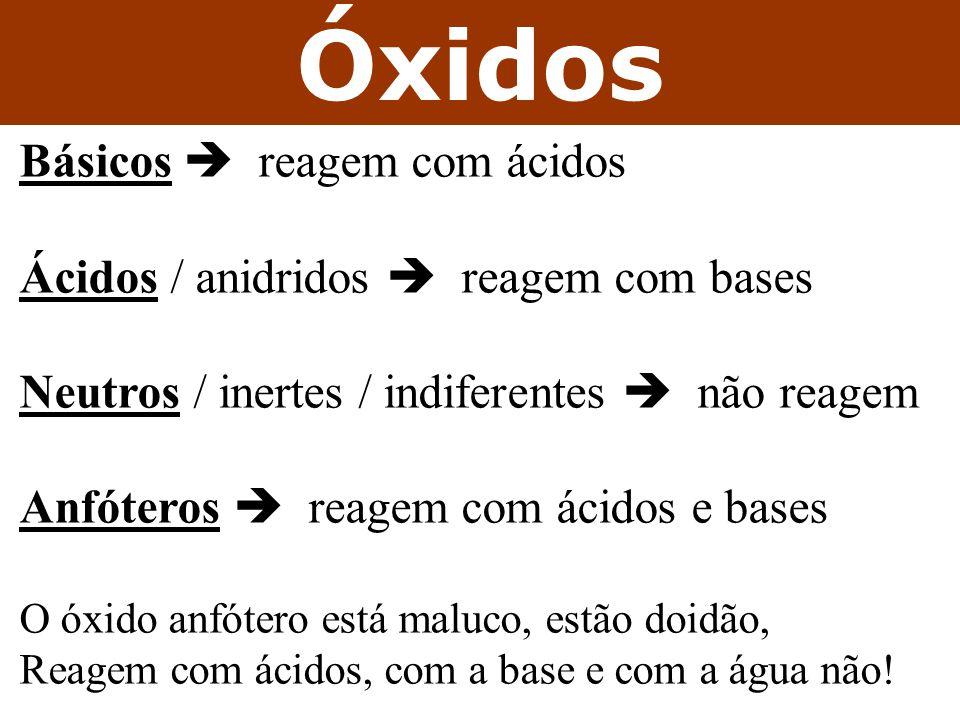 Óxidos Básicos reagem com ácidos Ácidos / anidridos reagem com bases Neutros / inertes / indiferentes não reagem Anfóteros reagem com ácidos e bases O