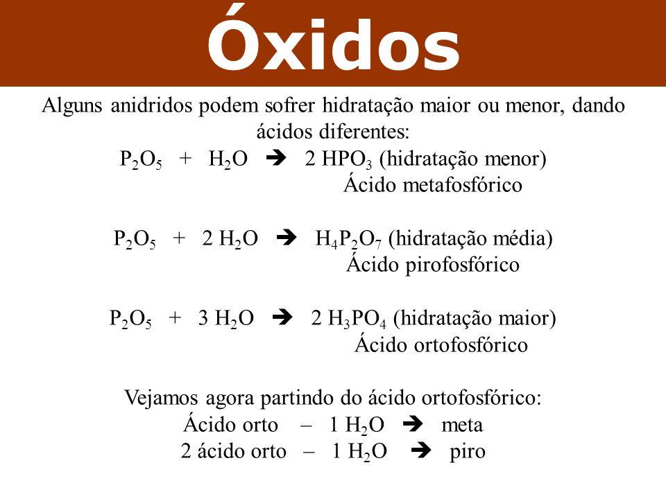 Óxidos Alguns anidridos podem sofrer hidratação maior ou menor, dando ácidos diferentes: P 2 O 5 + H 2 O 2 HPO 3 (hidratação menor) Ácido metafosfóric