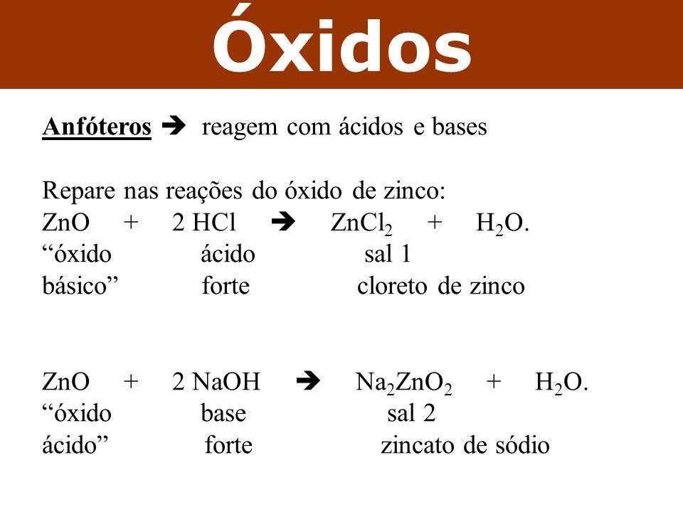 Óxidos Anfóteros reagem com ácidos e bases Repare nas reações do óxido de zinco: ZnO + 2 HCl ZnCl 2 + H 2 O. óxido ácido sal 1 básico forte cloreto de
